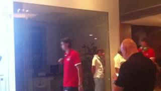 Выход команды из гостиницы(