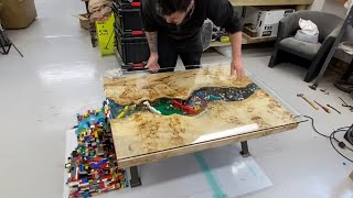 10,000 Legos in EPOXY RESIN, Flowing WATERFALL RIVER TABLE ! Lights & TV Screen....