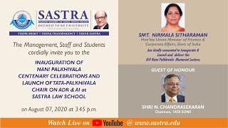 Virtual Launch of Nani Palkhivala Centenary Celebrations and TATA-Palkhivala Chair on ADR & AI