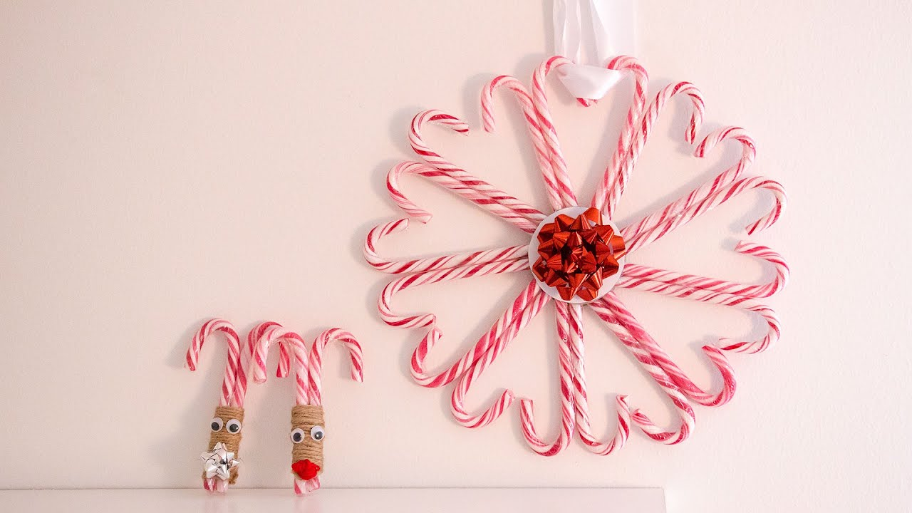 How To Decorate A Candy Cane For Christmas DIY candy cane christmas decorations YouTube 2
