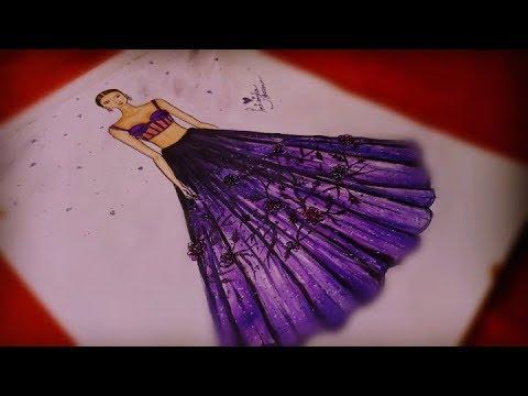 Simple Fashion Illustration Drawing Ii Designer Lehenga Drawing Youtube