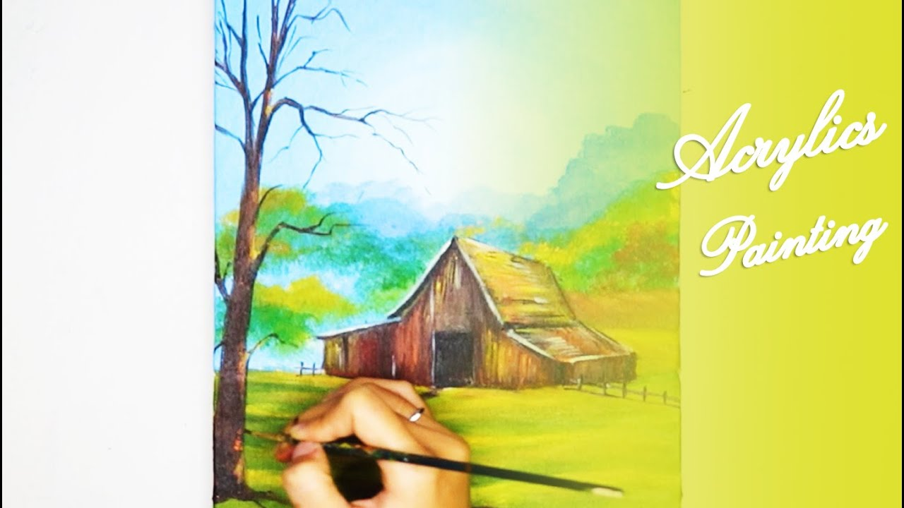 Acrylics Painting #114 Step by Step Draw Lonely House Acrylic Painting For Beginners