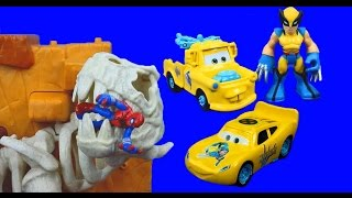 Disney Pixar Cars Wolverine Car McQueen and Mater Save Spider-Man Imaginext Radiator Springs Marvel