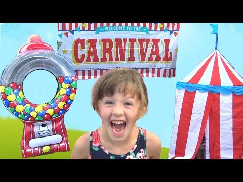 Super Cool Toy Carnival Comes to the Pool !!! with Giant Gumball Machine Game !
