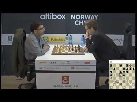 SACRIFICE ROOK FOR BISHOP AND PAWN!!! Viswanathan Anand Vs Magnus Carlsen - Blitz Chess 2017 Norway