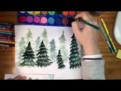Holiday Pine Trees in a Wintery Forest scape - Watercolor