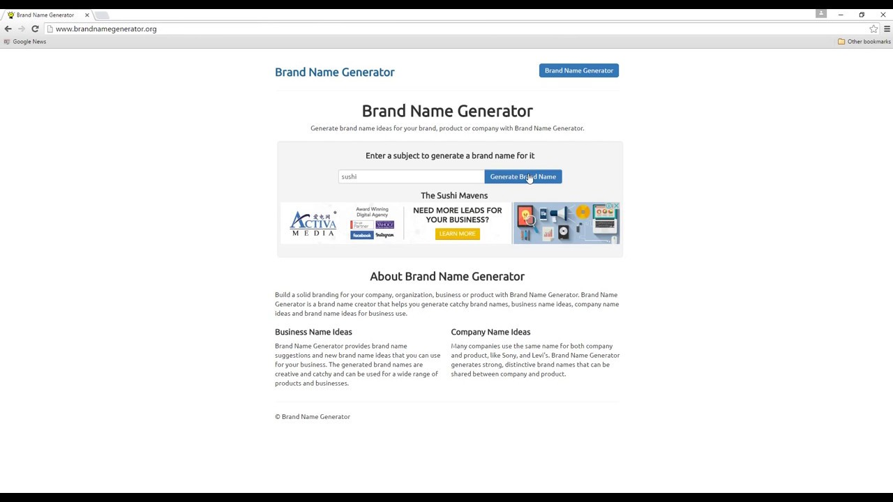 Brand Name Generator Generate Creative Brand Names For Your