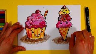 Как нарисовать МОРОЖЕНОЕ развивающее видео уроки рисования для детей