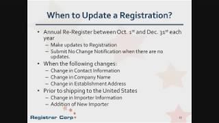 Annual FDA Drug Establishment Registration and Listings