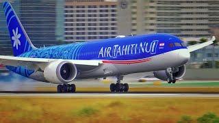BOEING 787-9 DREAMLINER LAX ARRIVALS - PLANE SPOTTING [4K VIDEO]