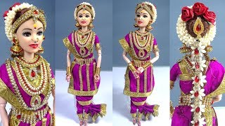 Barbie doll in Traditional MADISAR Saree | South Indian Miniature bridal doll dress/jewellery making