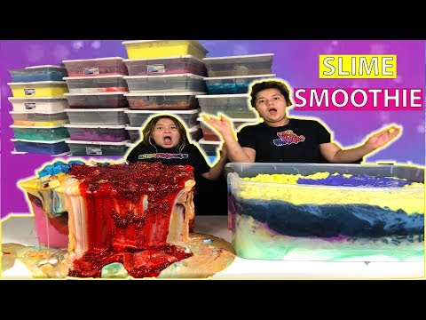 MIXING ALL OUR GIANT SLIMES - SUPER HUGE SLIME SMOOTHIE
