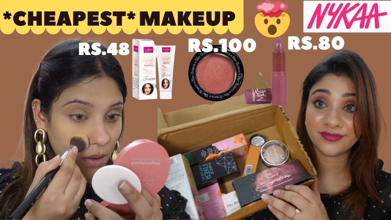 I TRIED CHEAPEST MAKEUP from Nykaa || gone wrong starts @45Rs.