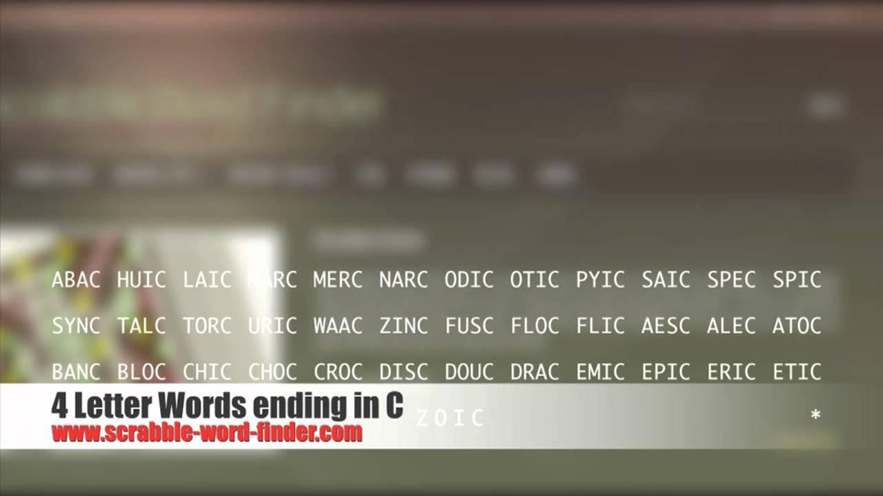 4 Letter Words Ending In C Youtube
