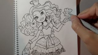 How to draw Madeleine Hatter from Ever After High step by step