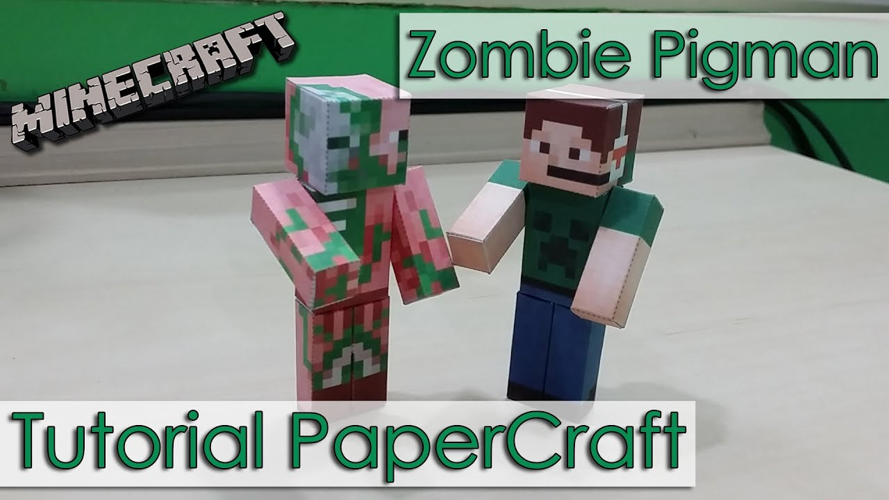 Papercraft Tutorial PaperCraft Minecraft - Porcão do Nether / Zombie Pigman