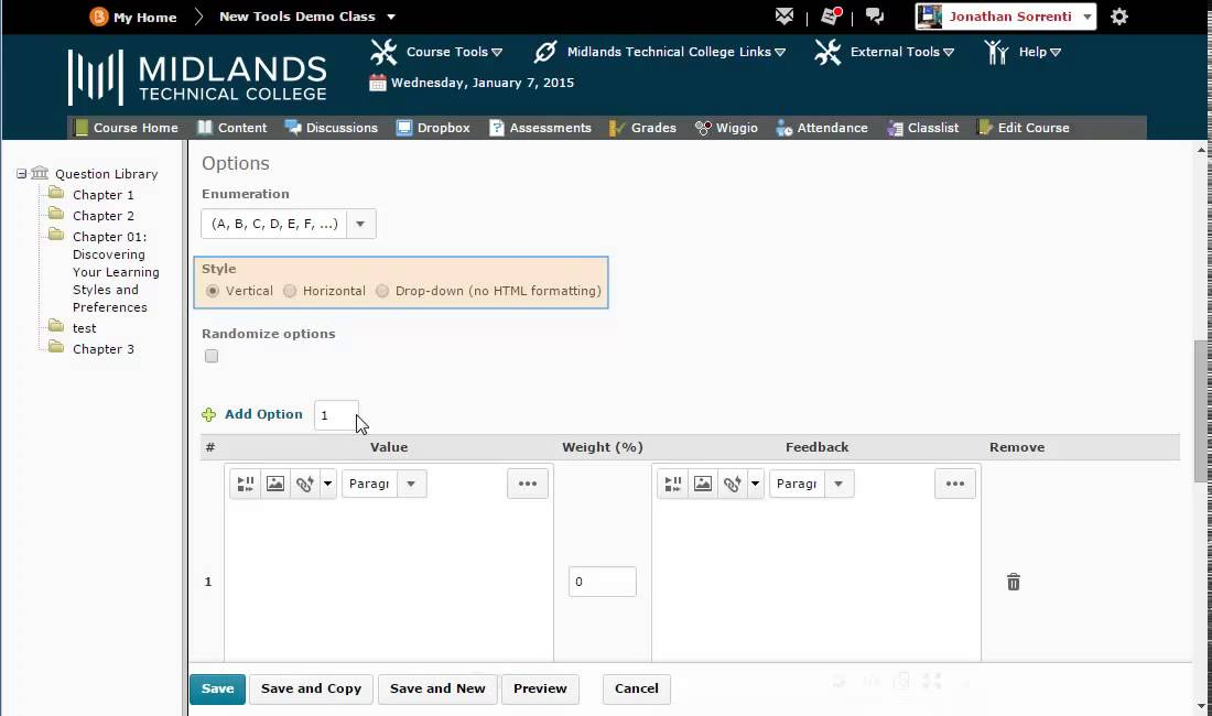 D2L Brightspace v104 Creating Multiple Choice Questions in the