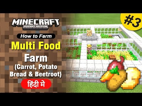 #3 Bread, Carrot, Potato, Beetroot Farm - [How To Farm] Minecraft PE | In Hindi | BlackClue Gaming