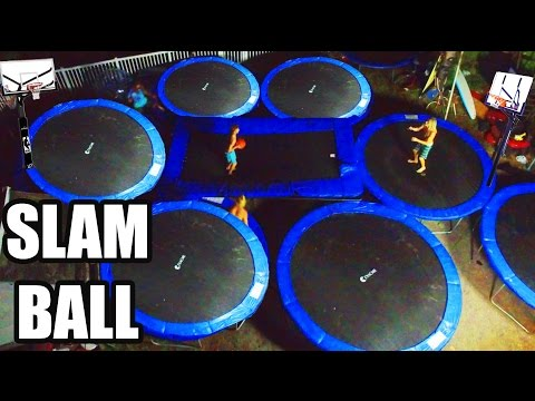 BACKYARD TRAMPOLINE BASKETBALL COURT!!! (SLAM BALL)