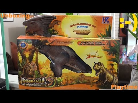 Battery Operated Dinosaur Toy: Unboxing a Parasaurolophus and Playtime