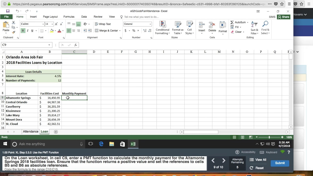 Excel Chapter 2 Simulation Exam PMT Function