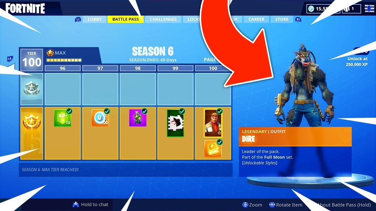 New Season 6 Tier 100 Max Battle Pass Showcase Fortnite Battle