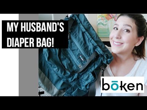 My Husband's Diaper bag Review & How we pack it | Broken