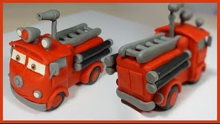 Лепим Тачку пожарную машину Шланг из пластилина. Car fire engine Red made of plasticine