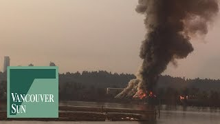 Raw: Barge fire on Fraser River in Surrey | Vancouver Sun
