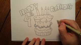 How to draw a birthday cake Kids drawing series easy cartoons