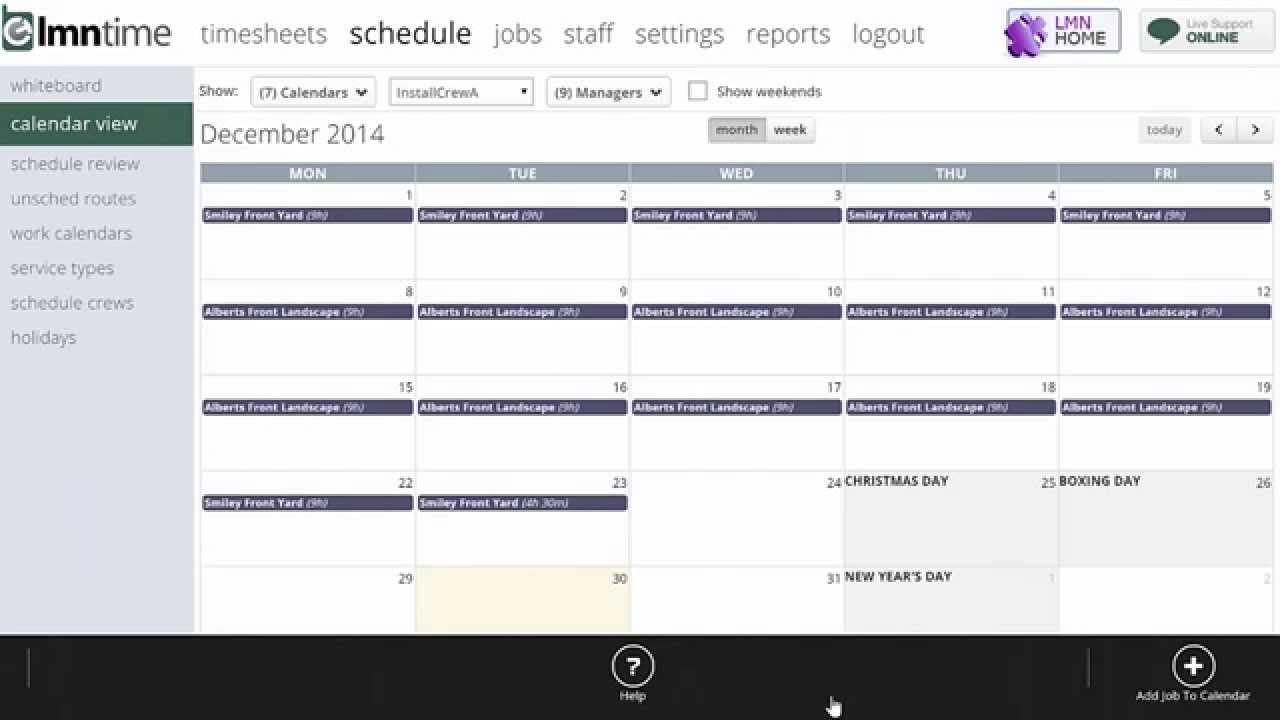 Landscape Scheduling Software - LMN - Calendar View