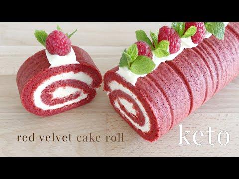 Keto Red Velvet Roll Cake