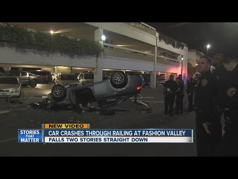 Car nosedives off Fashion Valley Mall parking garage
