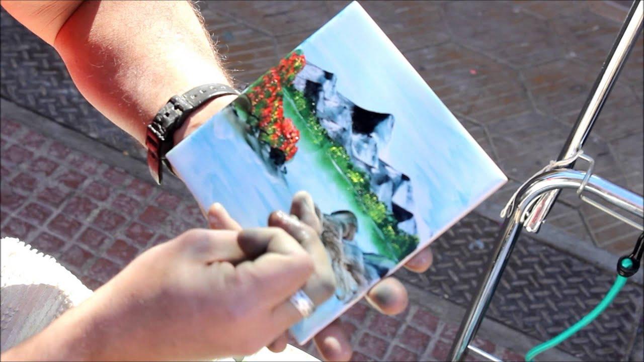 Pintando paisajes con los dedos oleo youtube - Ninos pintando con las manos ...