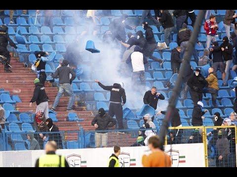 FC BANÍK OSTRAVA  vs  AC SPARTA PRAHA 22.3.2014 hooligans in action