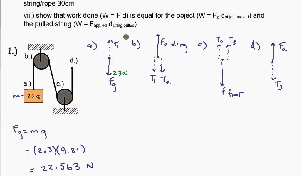 Pulley Worksheet 2 Example 1 - YouTube