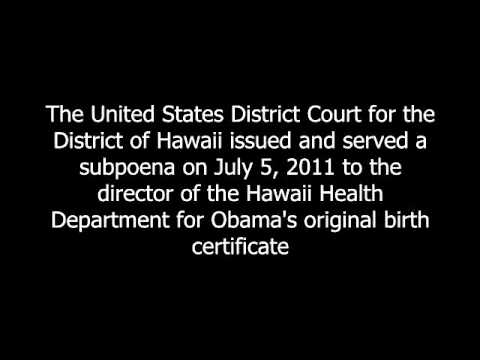 Breaking News...U.S. District Court of Hawaii Subpoenas Obama