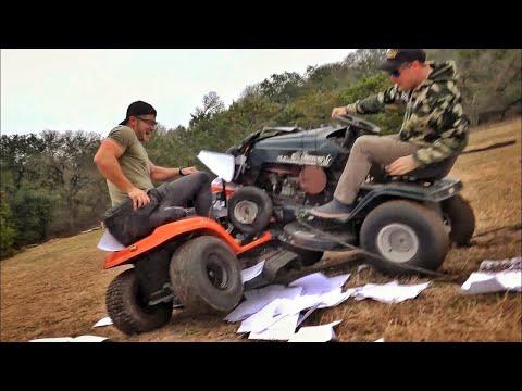 Битва тракторов-газонокосилок... с пушками! | Разрушительное ранчо | Перевод Zёбры