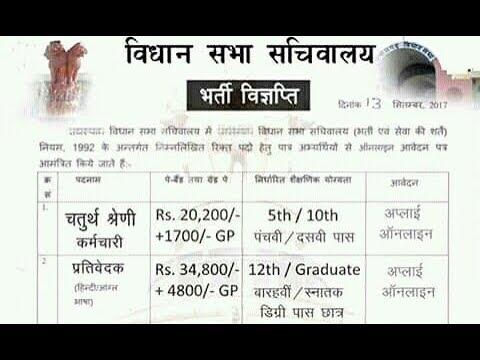 Rajasthan Vidhan Sabha Recruitment 2017 Apply For Employee Class-IV,  Reporter