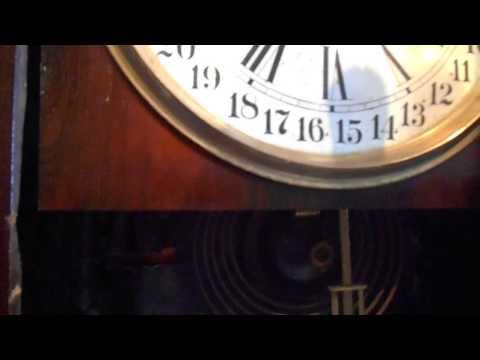 Antique Calendar Clock Co 8 Day Calendar Clock With Rare Past Over Label