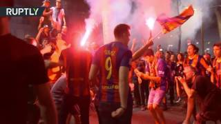 Fans & flares  FC Barcelona supporters go wild after final match