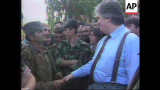 BOSNIA: PALE: SERB LEADER RADOVAN KARADZIC VISITS TROOPS