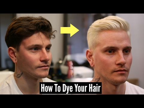 Mens Popular Slick Back Haircut & Hairstyle Tutorial 2017 + How To Dye Your Hair Platinum Blonde