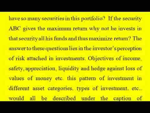 risk & return on portfolio mba finance project record portfolio management page 22