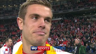 Jordan Henderson after winning his 1st trophy with Liverpool