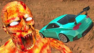 BeamNG.drive - Cars Jumping into Giant ZOMBIE Mouth Zombie Apocalypse