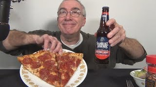 ASMR Eating Domino's Pepperoni Pizza with Sam Adams Beer Night
