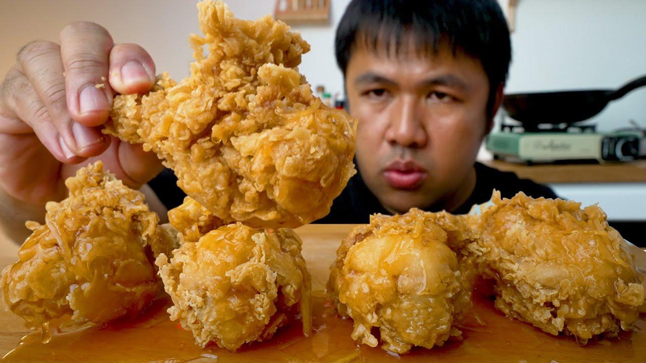 ทอดไก่ KFC ง่ายๆ ไม่ใช้มือ กินกับซอสน้ำผึ้งมะนาว : ทำกินชิลๆ