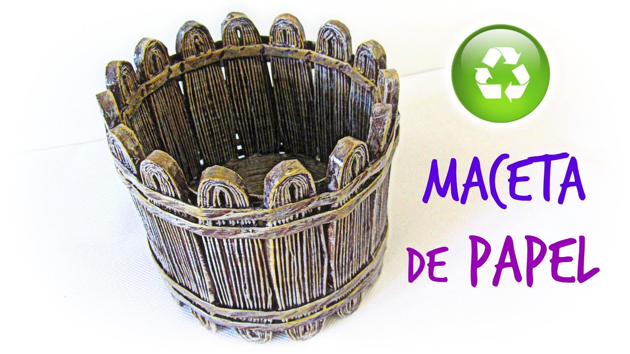 Diy maceta decorativa de papel peri dico how to make a - Como hacer macetas ...