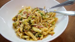 Pasta with Bacon & Brussels Sprouts by SAM THE COOKING GUY